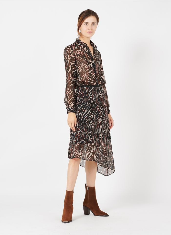 IKKS Black Printed asymmetric midi skirt