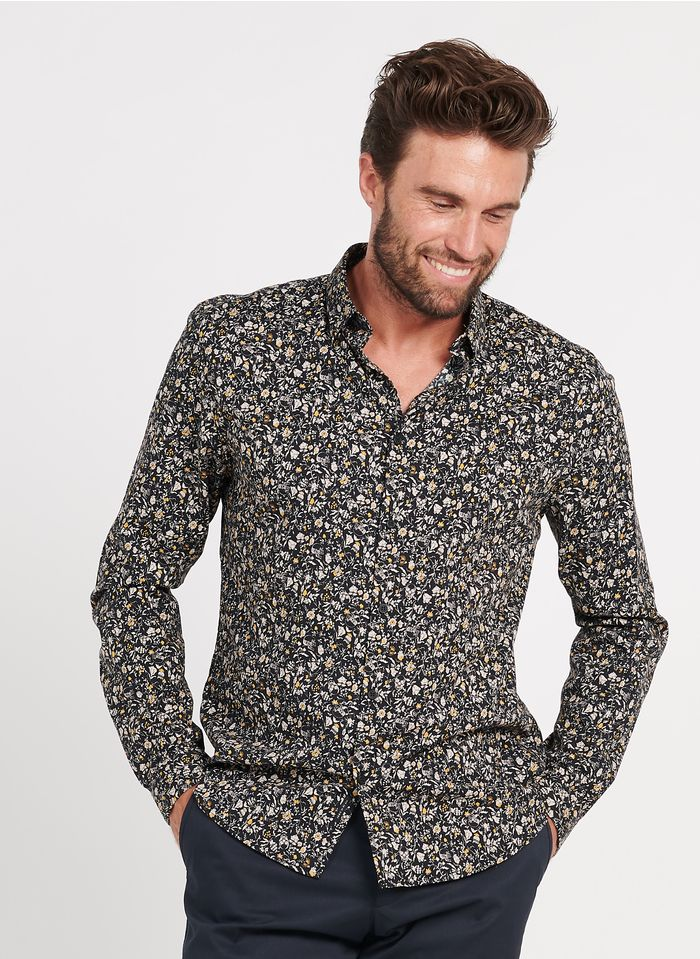 IKKS Black Printed cotton shirt with classic collar