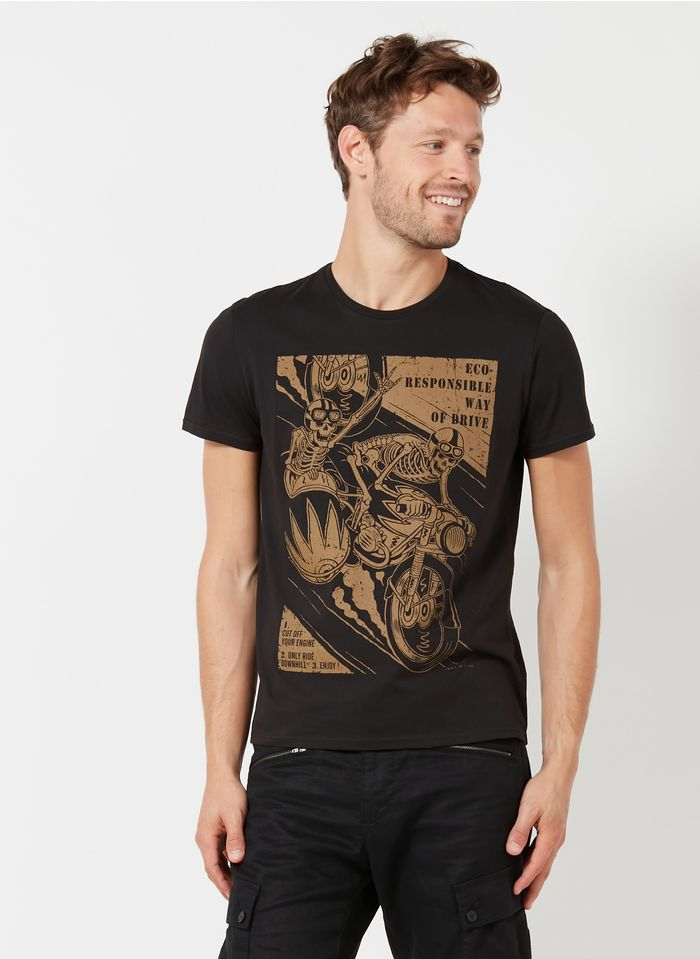 IKKS Black Printed cotton T-shirt
