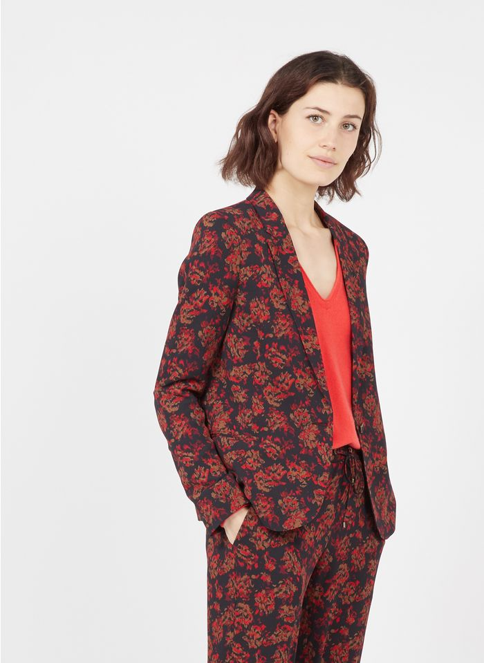 IKKS Black Printed jacket with tailored collar