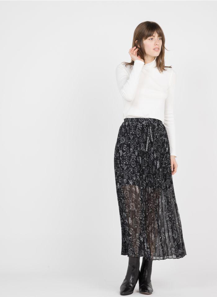 IKKS Black Printed pleated midi skirt