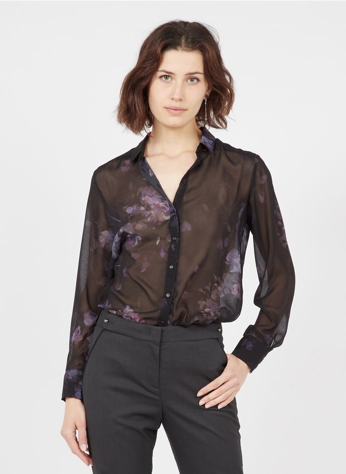 IKKS Black Printed voile shirt with classic collar