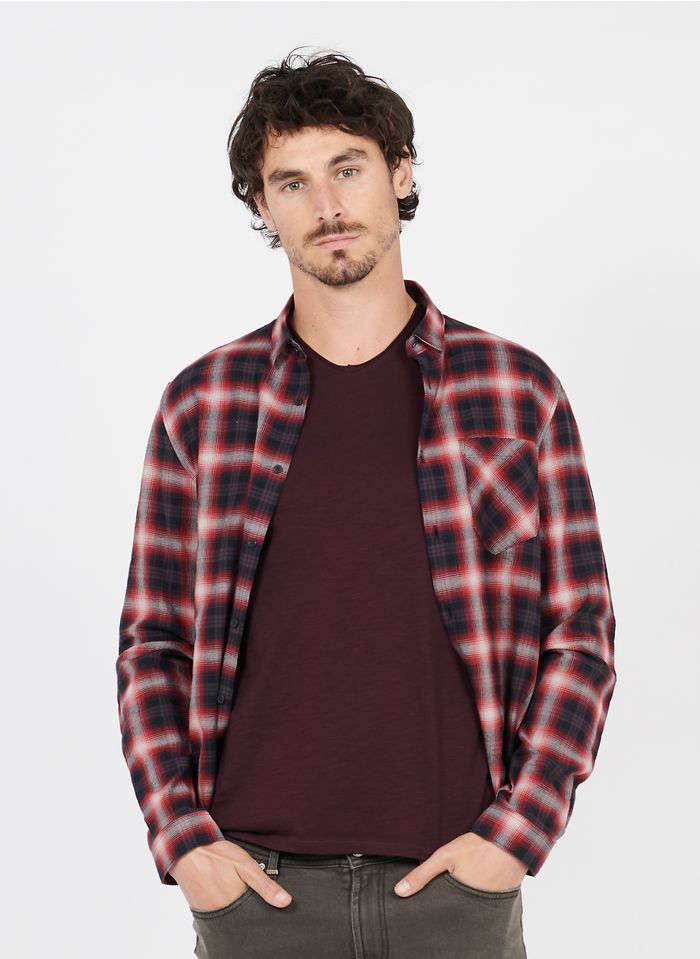 IKKS Red Regular-fit checked cotton shirt with classic collar