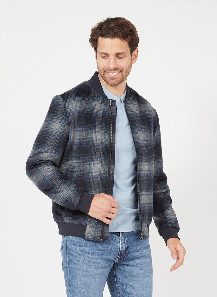 IKKS Blue Regular-fit checked wool-blend round-neck jacket