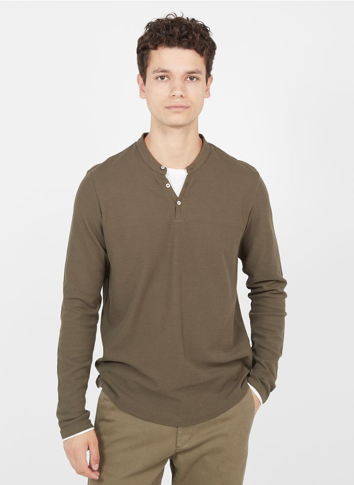 IKKS Brown Regular-fit cotton henley T-shirt