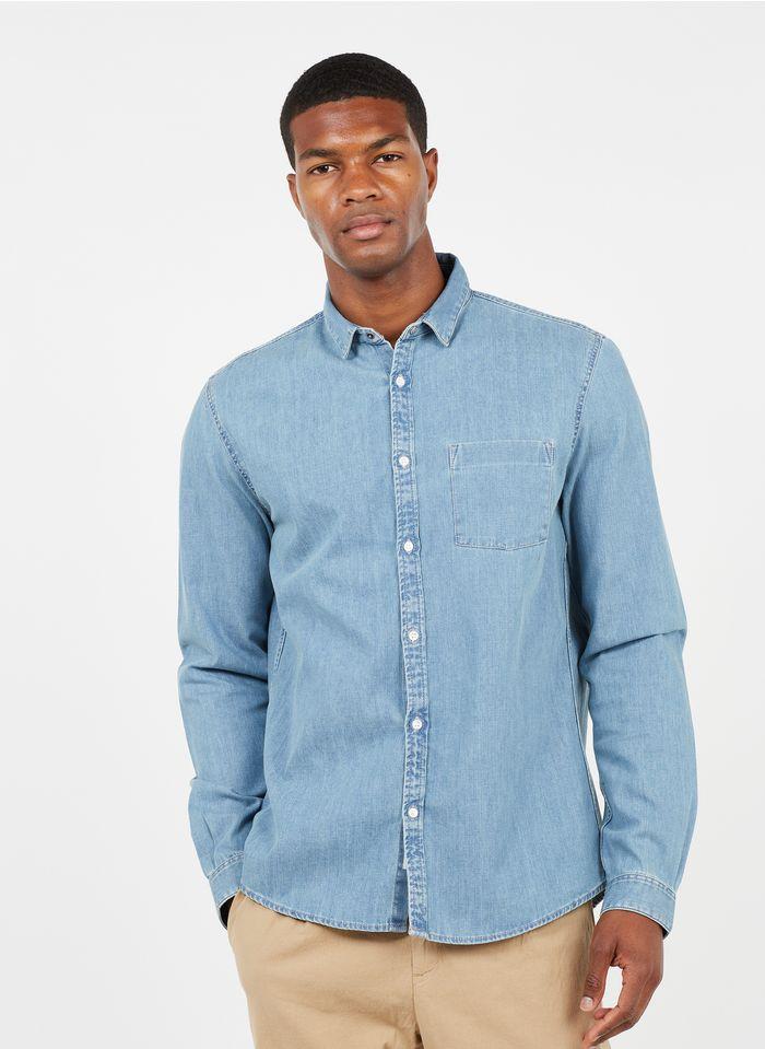 IKKS Blue Regular-fit denim shirt with classic collar