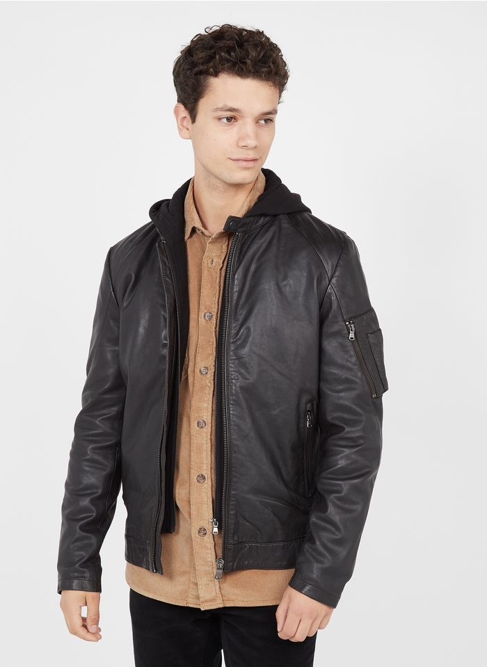 IKKS Brown Regular-fit leather jacket with hood