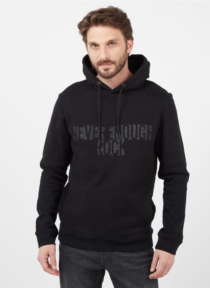 IKKS Black Regular-fit round-neck cotton hoodie