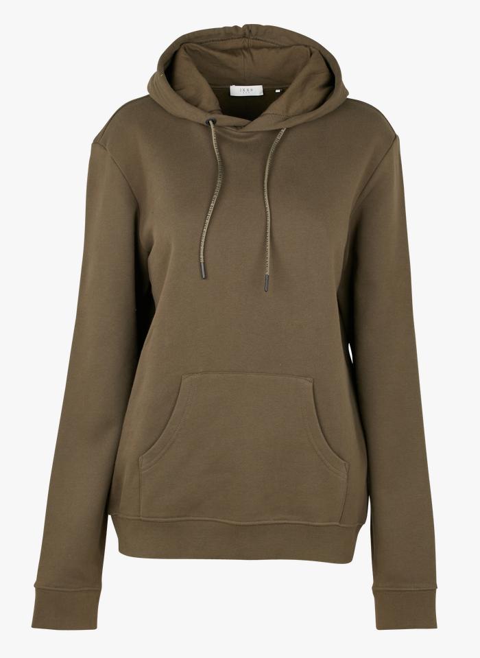 IKKS Khaki Regular-fit round-neck cotton hoodie