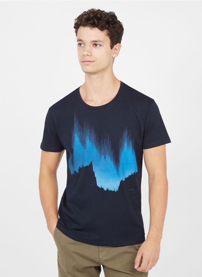 IKKS Blue Regular-fit round-neck cotton T-shirt with screen print