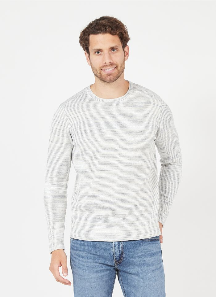 IKKS Blue Regular-fit round-neck striped ramie sweater