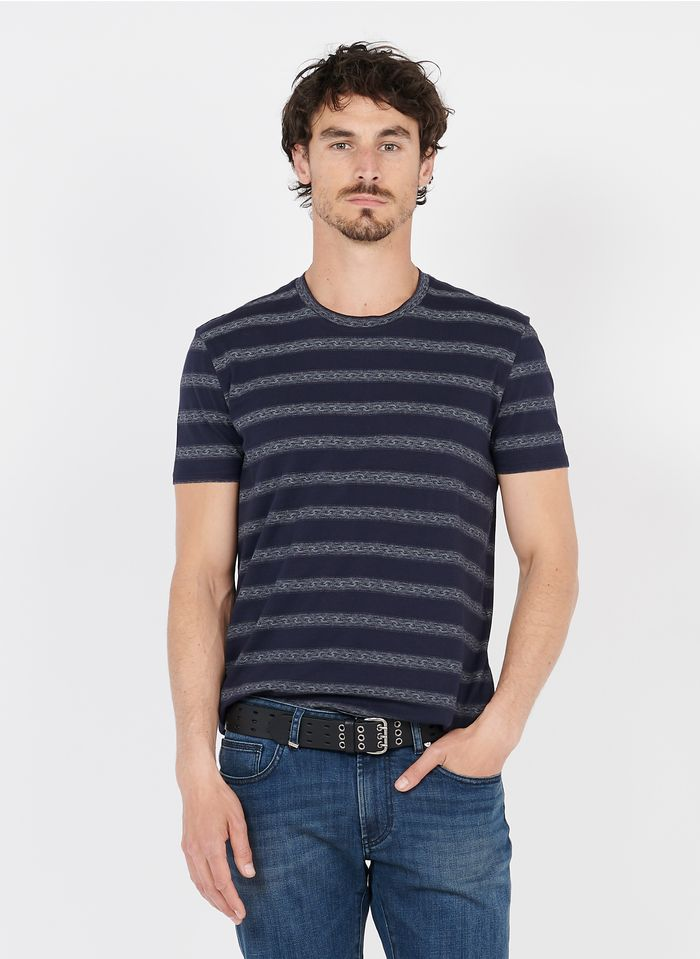 IKKS Blue Round-neck cotton-blend T-shirt with screen-printed stripes