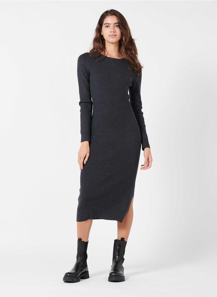 IKKS Grey Round-neck rib-knit midi dress