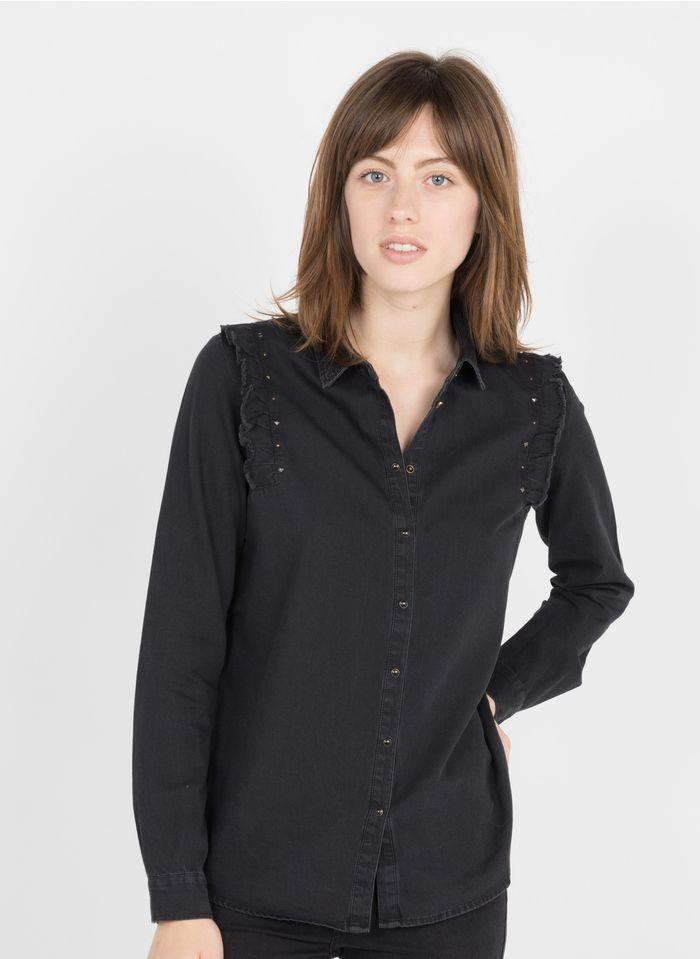 IKKS Black Ruffled cotton shirt with classic collar
