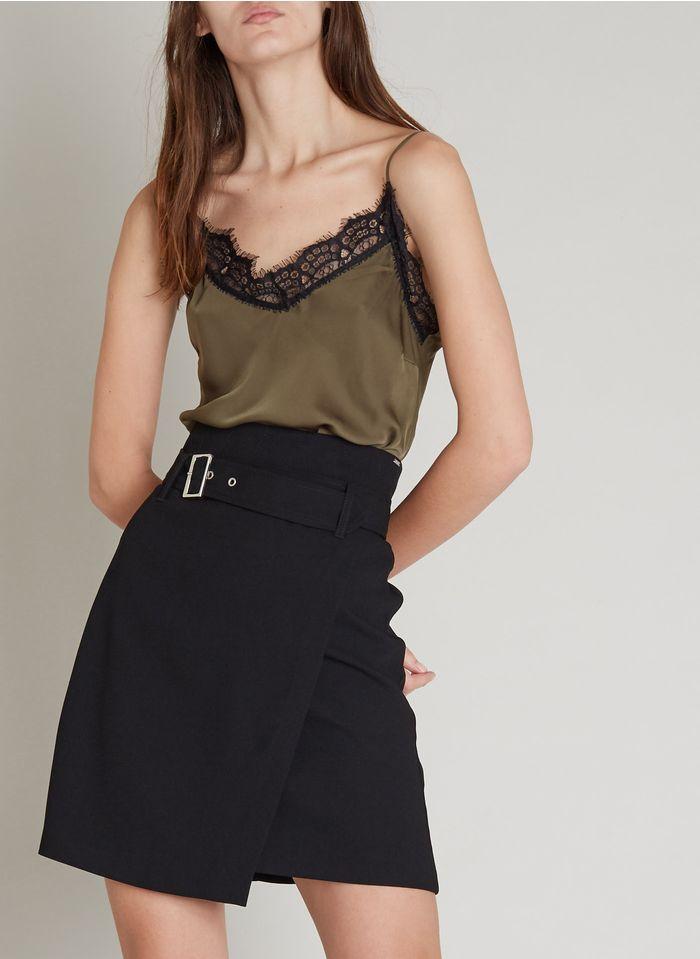 IKKS Khaki Satin crepe camisole with lace panel