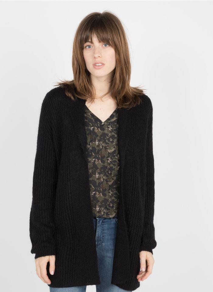 IKKS Black Shawl-neck open mohair-blend jacquard cardigan