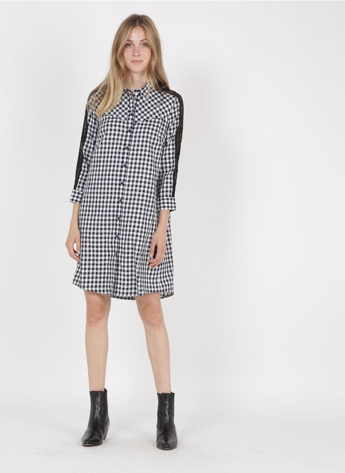 IKKS Blue Short cotton and lace viscose gingham checked dress with classic collar