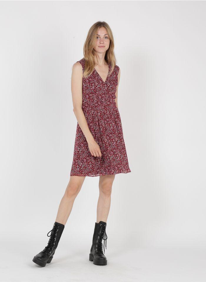 IKKS Red Short crepe V-neck dress with floral print