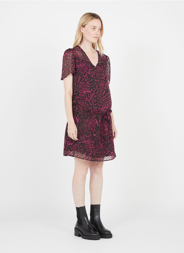 IKKS Pink Short dotted printed V-neck dress