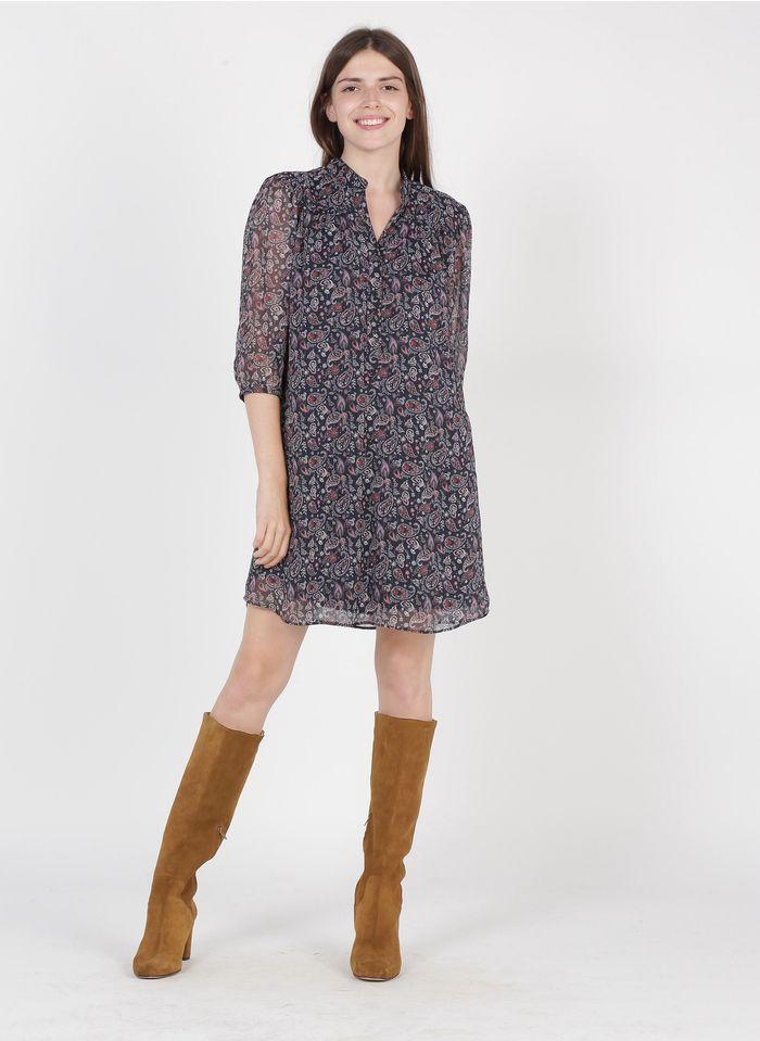 IKKS Blue Short floral print crepe henley dress