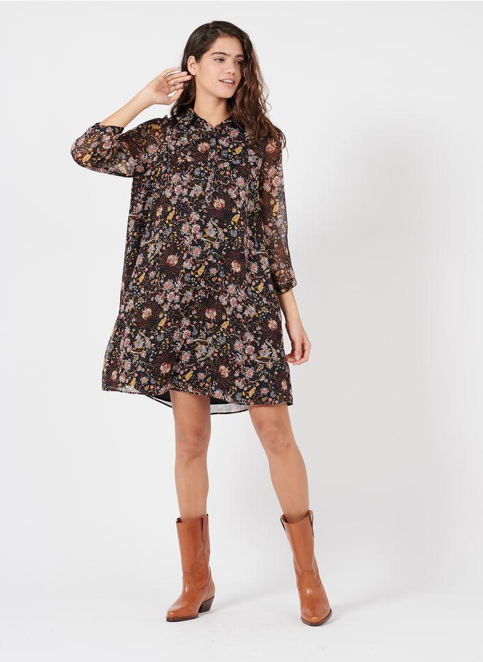 IKKS Black Short floral print dress with classic collar