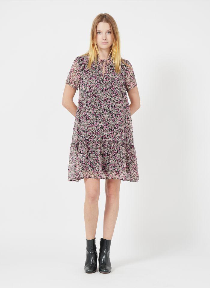 IKKS Purple Short floral print henley dress