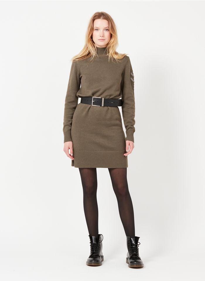 IKKS Khaki Short high-neck wool-blend dress