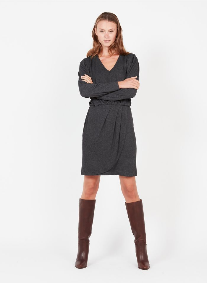 IKKS Grey Short jersey V-neck dress