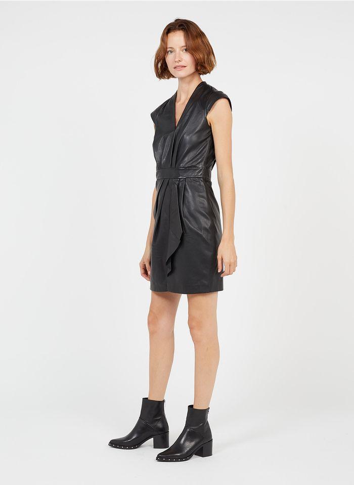IKKS Black Short leather V-neck dress