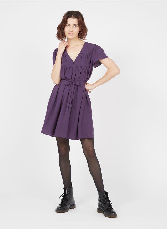 IKKS Purple Short loose-fit dress with V-neck