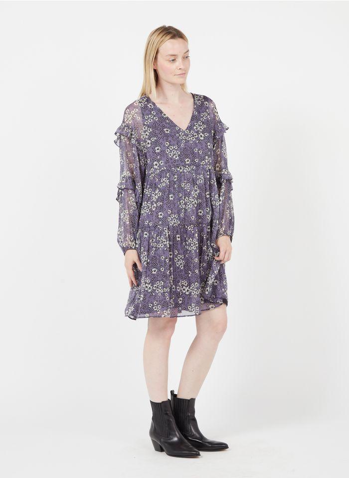 IKKS Purple Short loose-fit printed dress with V-neck