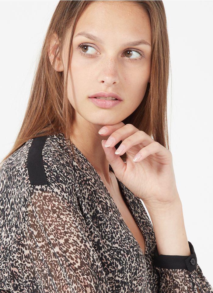 IKKS Black Short lynx-print wrap dress