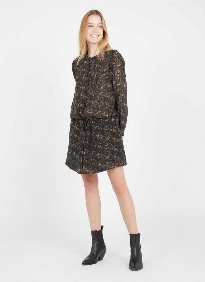 IKKS Khaki Short printed round-neck dress