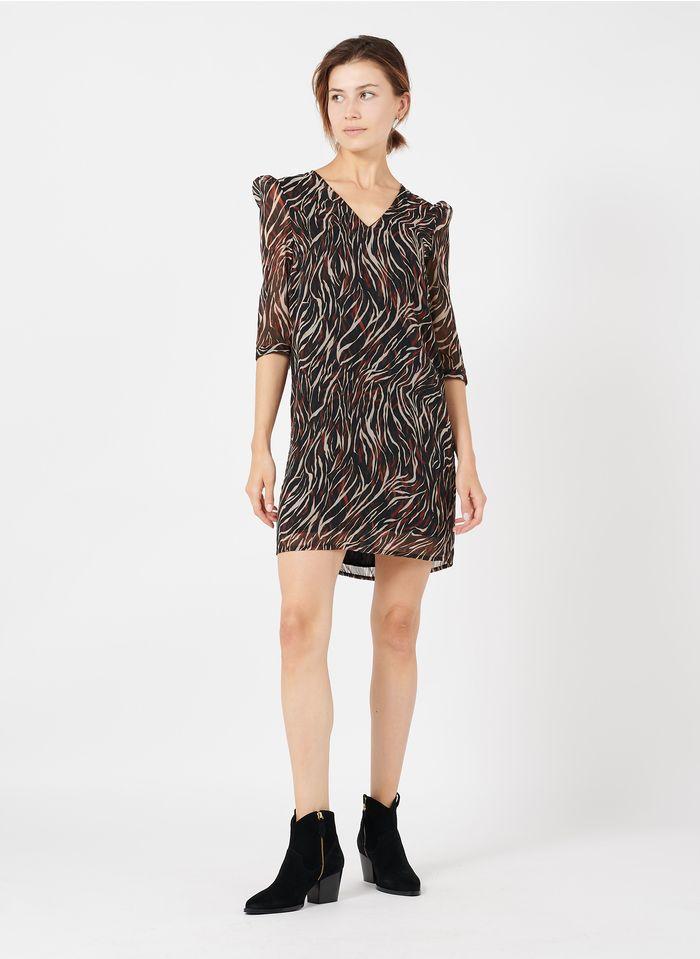 IKKS Black Short printed V-neck dress