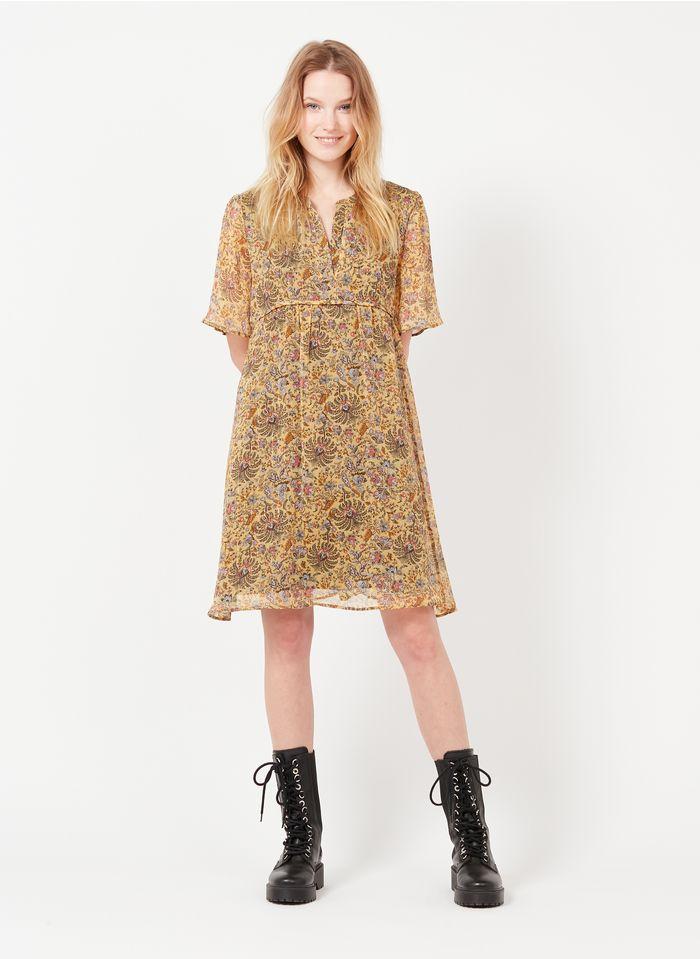 IKKS Yellow Short printed voile henley dress