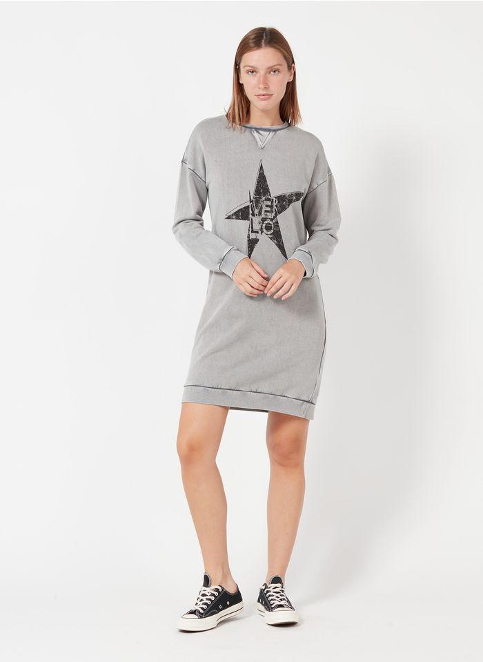 IKKS Grey Short round-neck screen-printed sweatshirt fabric dress