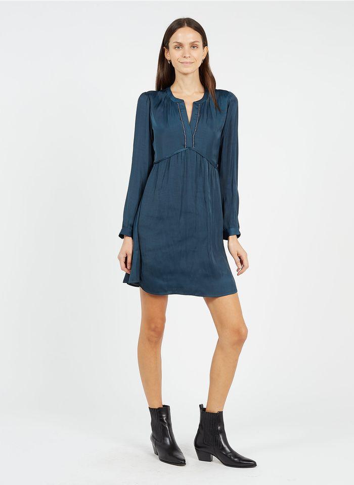 IKKS Green Short satiny henley dress