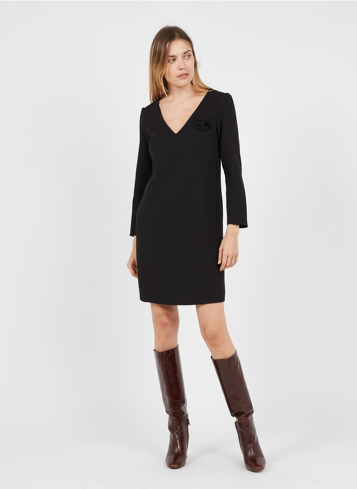 IKKS Black Short V-neck dress