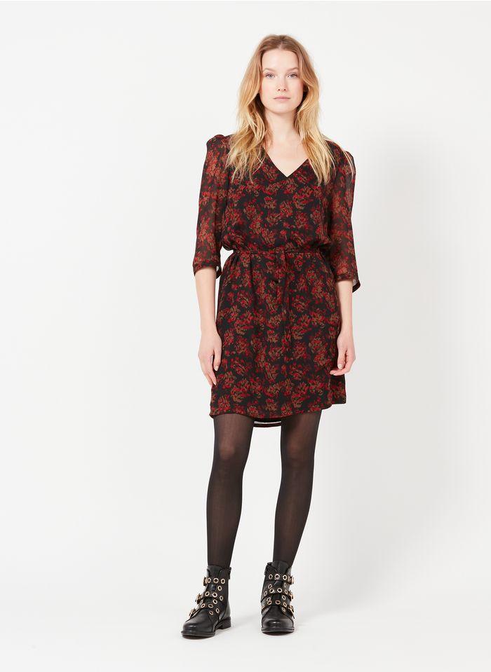 IKKS Black Short V-neck printed voile dress