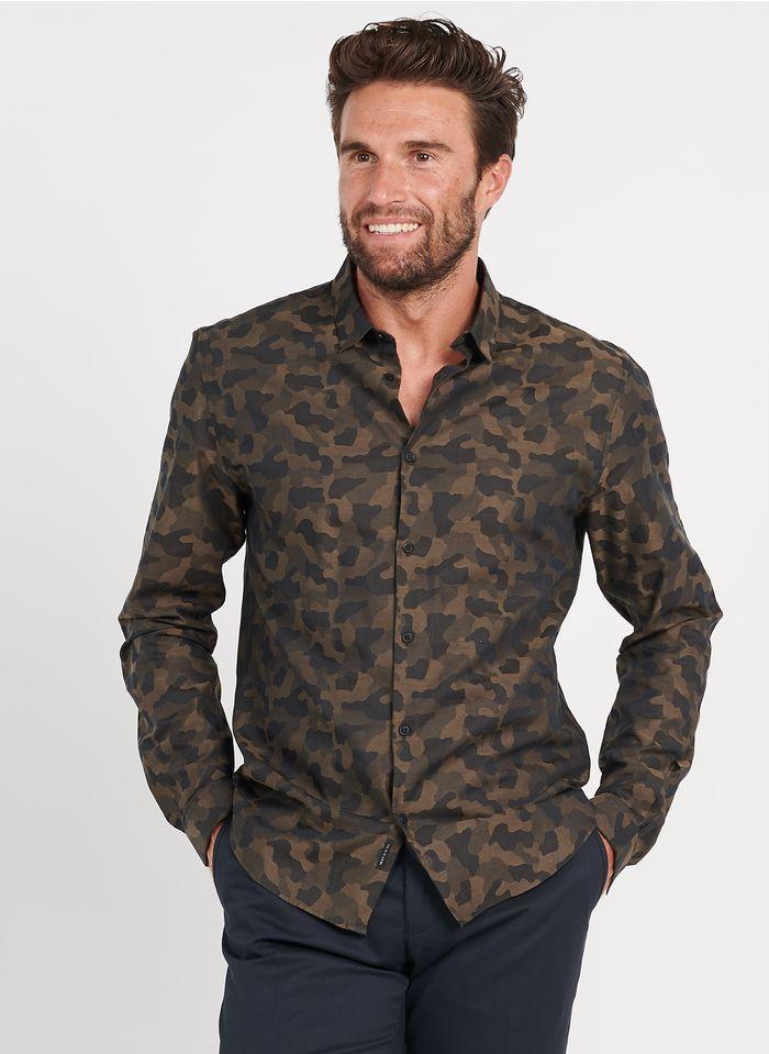 IKKS Khaki Slim-fit camouflage print shirt with classic collar