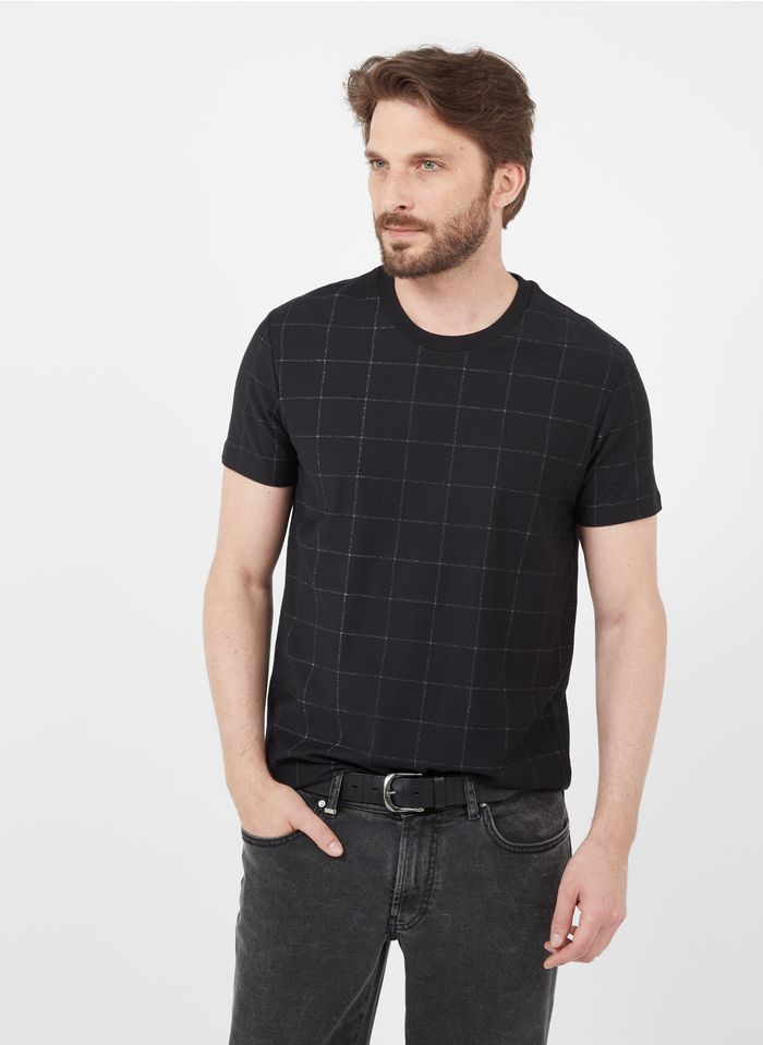 IKKS Black Slim-fit checked T-shirt with round neck