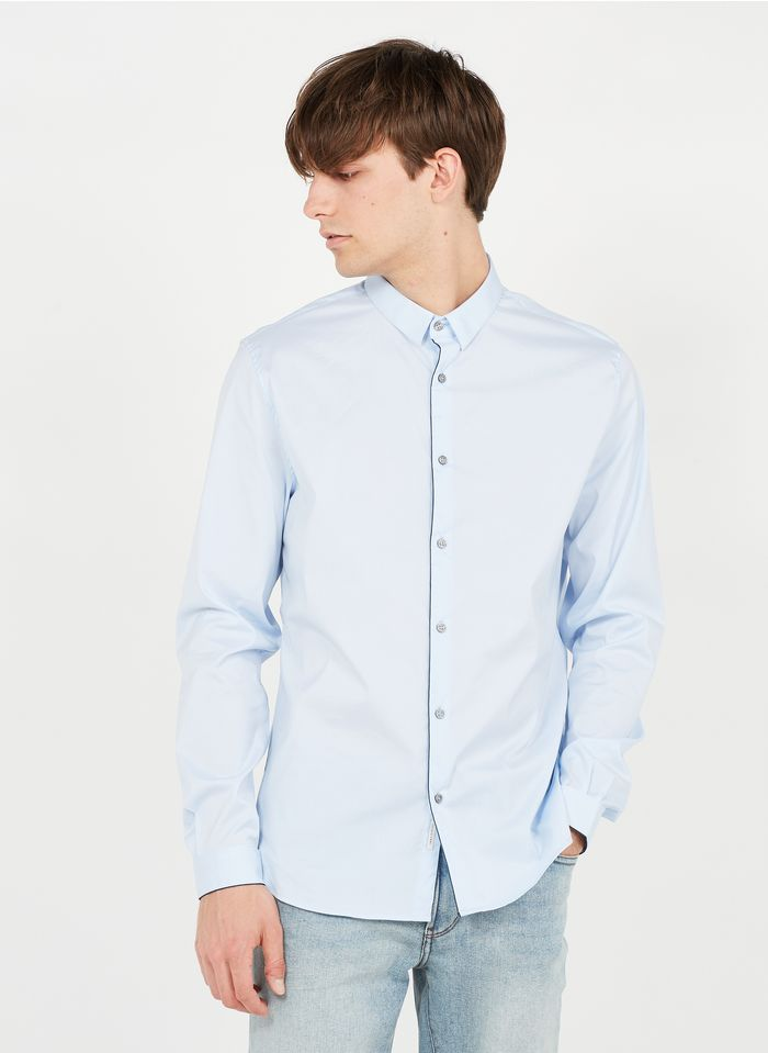IKKS Blue Slim-fit cotton-blend shirt with classic collar