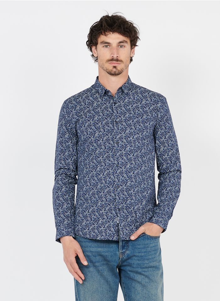 IKKS Blue Slim-fit printed cotton shirt with classic collar