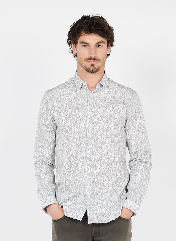 IKKS White Slim-fit printed cotton shirt with classic collar