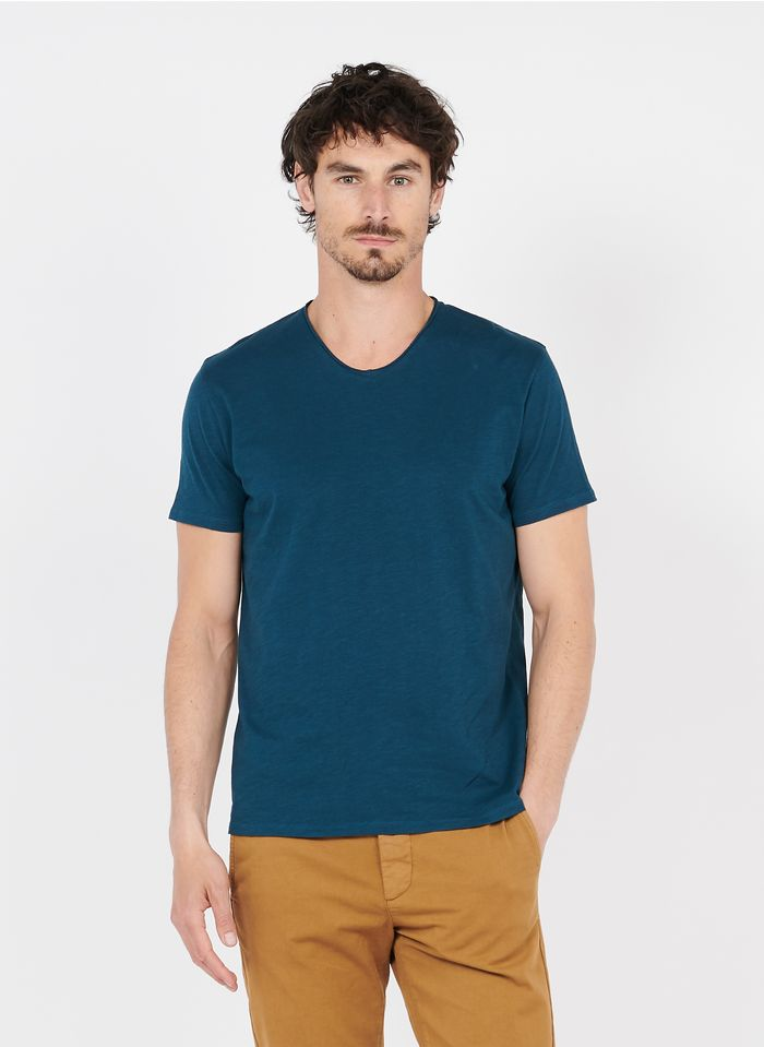 IKKS Blue Slim-fit V-neck slub cotton T-shirt