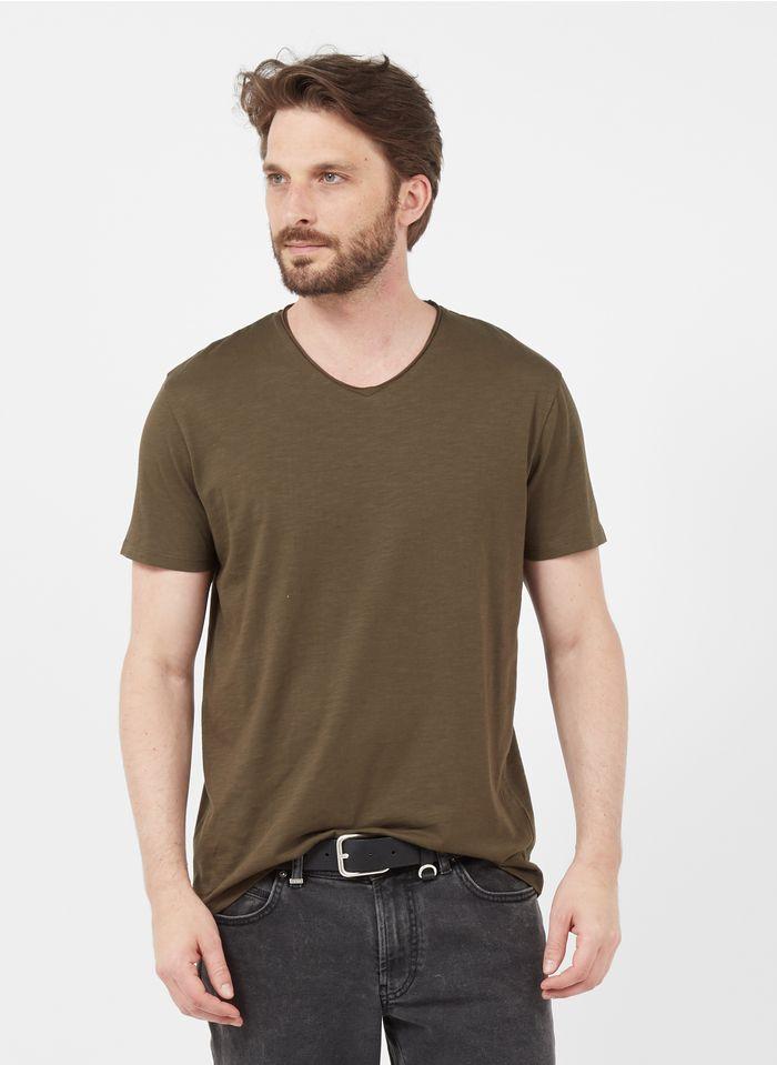 IKKS Khaki Slim-fit V-neck slub cotton T-shirt