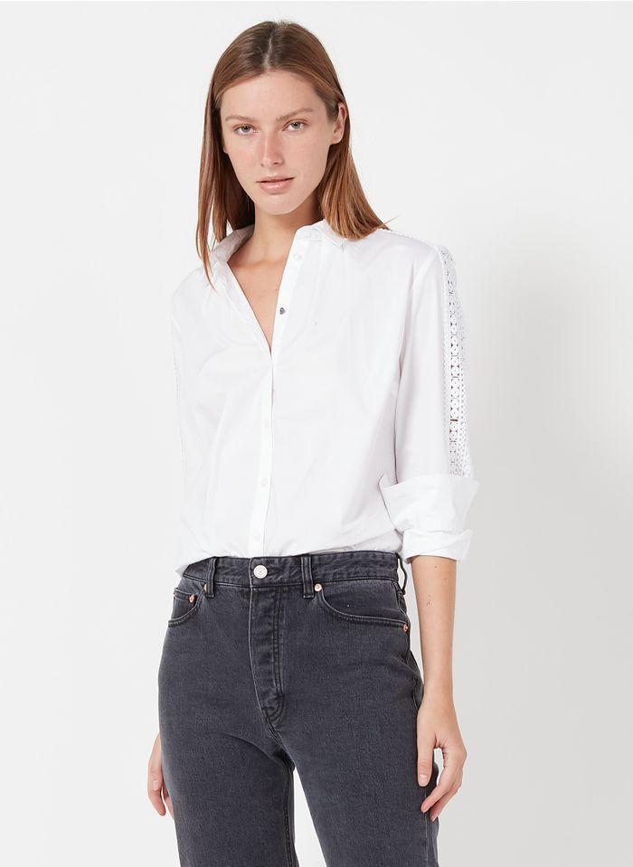 IKKS White Stretch cotton poplin shirt with classic collar