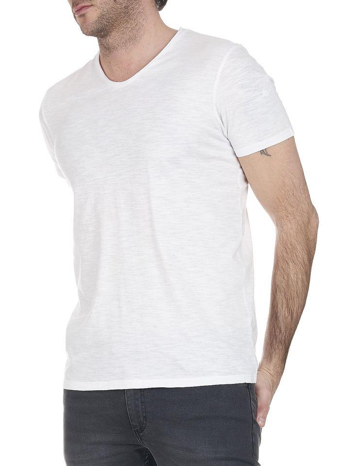 IKKS White V-neck cotton T-shirt
