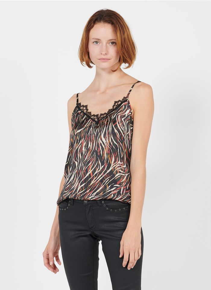IKKS Black Zebra print V-neck camisole with lace