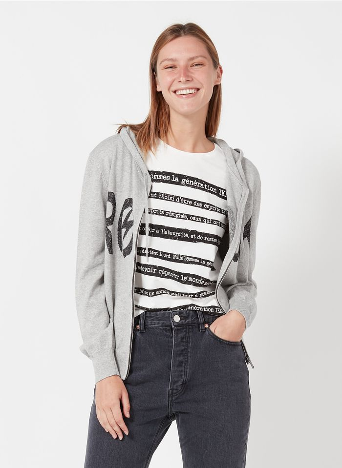 IKKS Grey Zip-up jacquard hooded cardigan in cotton and cashmere